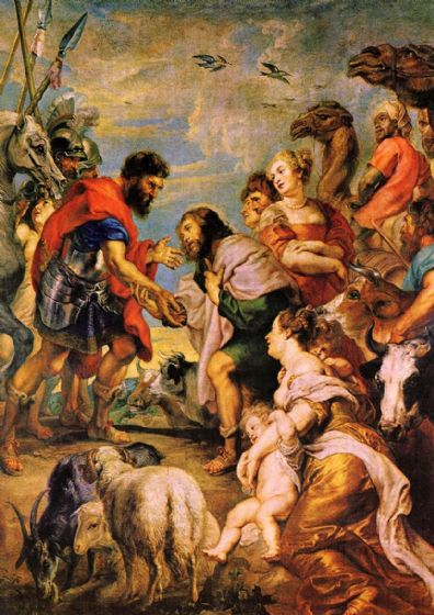 Rubens, Peter Paul: The Reconciliation of Esau and Jacob. Fine Art Print/Poster. Sizes: A1/A2/A3/A4 (001212)